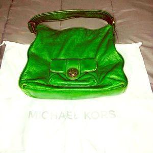 MMK Medium Pebbled Green Leather Shoulder Bag